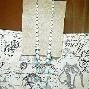 Jewelry - White Blue Plastic Marbled Bead Long Necklace